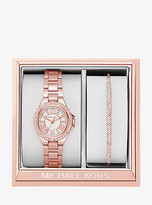 Michael Kors Petite Camille Rose Gold-Tone Watch And Slider Bracelet Set