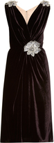 Dolce & Gabbana Crystal-embellished brocade and velvet dress