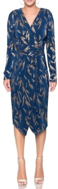 Rachel Roy Sylvia Foil-Printed Wrap Dress