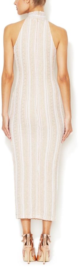 Torn By Ronny Kobo Claudia Metallic Lace Dress