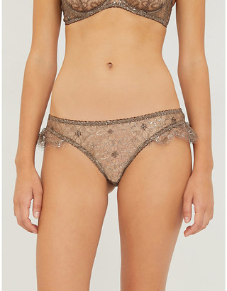 Myla Rosemoor Street metallic lurex-lace briefs