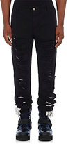 Hood by Air Men's Distressed-Canvas Layered Jeans-BLACK