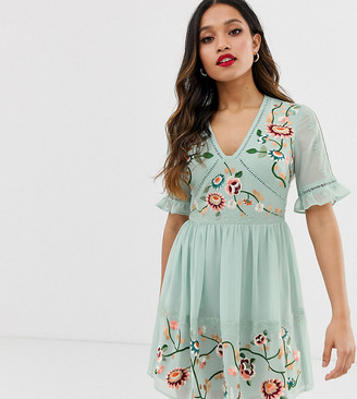 ASOS DESIGN Petite embroidered mini dress with lace trims in sage green