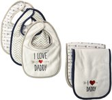 "Luvable Friends Baby Boys' ""Daddy's Fan"" 5-Pack Bibs & Burp Cloths Set"