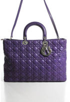 Christian Dior Large Purple Quilted Leather Lady Top Handle Tote Bag EVHB