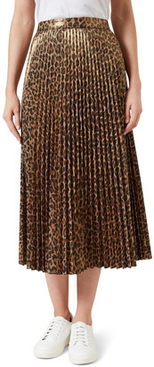 French Connection Metallic Animal Pleated Skirt