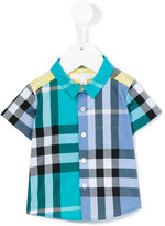 Burberry short sleeved contrast check shirt - kids - Cotton - 9 mth