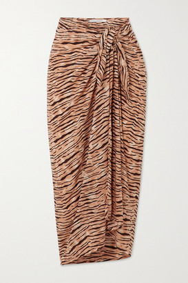 Faithfull The Brand Net Sustain Tiger-print Voile Pareo - Taupe