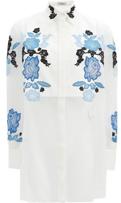 Valentino Floral Lace-embroidered Silk-organza Shirt - Blue White
