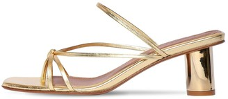 Souliers Martinez 55mm Metallic Leather Thong Sandals