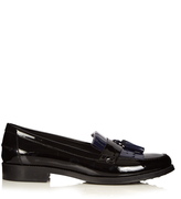 Tod's Gomma bi-colour fringed patent loafers
