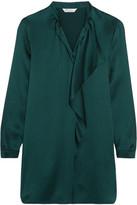 Max Mara Euforia Ruffled Crinkled Silk-satin Tunic - Emerald