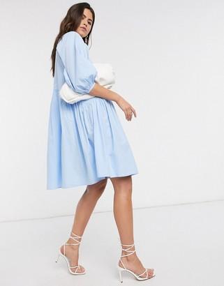 Vero Moda oversized poplin smock dress in blue