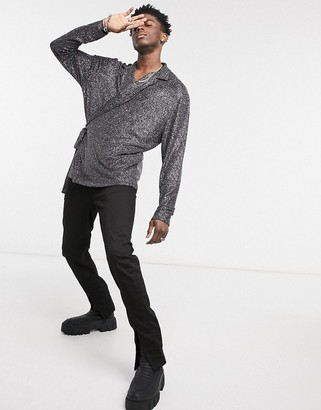ASOS DESIGN relaxed long sleeve wrap shirt in black metallic jersey