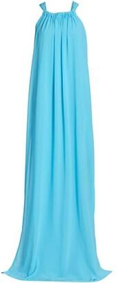 Monique Lhuillier Crepe Chiffon Sleeveless Slit Tent Dress