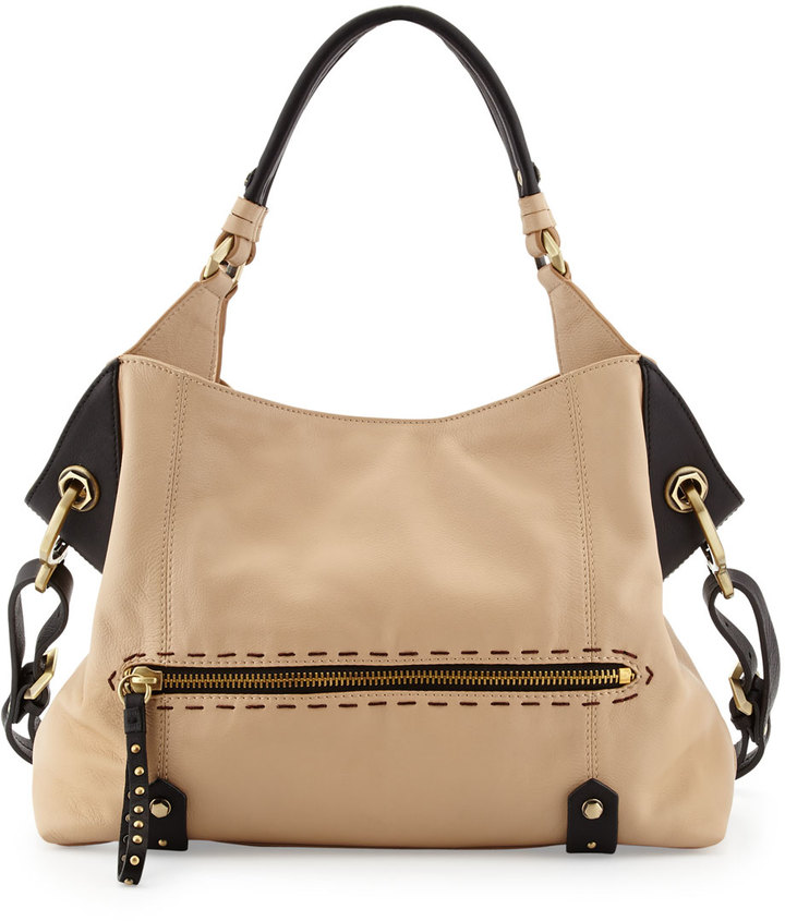 Oryany Marissa Studded Leather Satchel Bag, Sand Multi
