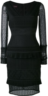 Talbot Runhof Contrast Texture Lace Detail Dress