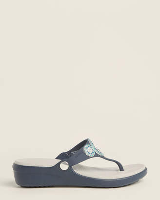Crocs Navy Sarah Diamante Wedge Flip Flops
