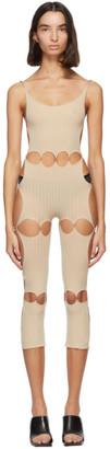 Rui Beige Nylon Unitard Bodysuit