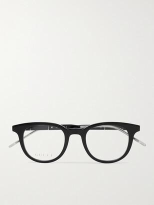 Gucci Round-Frame Acetate and Silver-Tone Optical Glasses - Men - Black