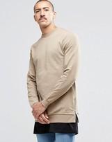 Asos Longline Muscle Sweatshirt With Side Zips In Beige