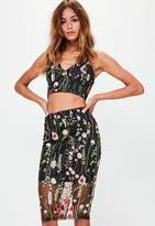 Missguided Premium Black Floral Embroidered Mesh Midi Skirt, Multi