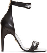 Versace Black & White Logo Strap Sandals
