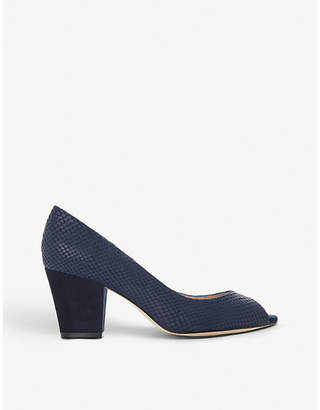 Dune Cathy peep-toe snake-embossed leather courts