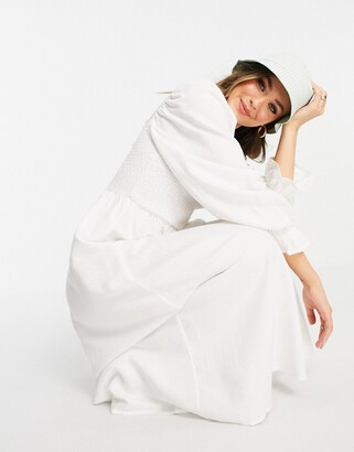 New Look shirred midi dress in off white