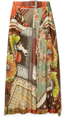 Chloé Buckled Patchwork-effect Printed Silk-twill Midi Wrap Skirt