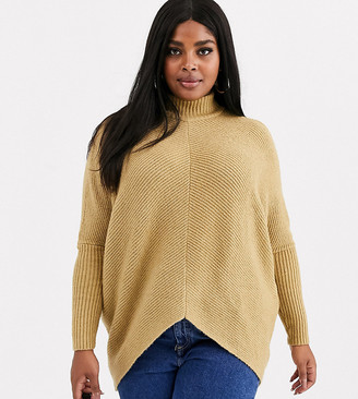 Simply Be high neck ribbed sweater in camel