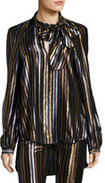 Haney Diane Striped Tie-Neck Blouse, Multi