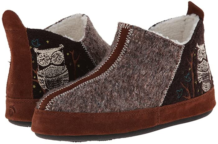 Acorn Forest Bootie (Chocolate Owl) Women's Slippers