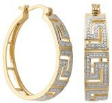 Prime Art & Jewel 18k Yellow Gold Plated Bronze Diamond Accent Hoop Earrings