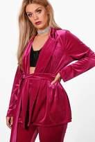 boohoo Plus Jemima Velvet Belted Blazer