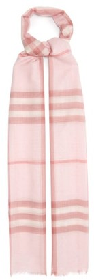 Burberry Giant Check Wool-blend Gauze Scarf - Pink
