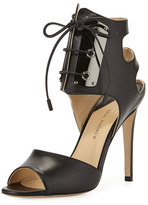 Paul Andrew Leather Lace-Front Sandal, Black