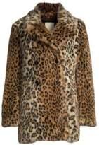 Joie Women's Tiaret Leopard Faux Fur Coat