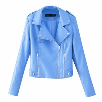 Doldoa Women Outerwear Jackets for Women - Womens Leather Jacket Women Faux Leather Contemporary Asymmetrical Moto Biker Hooded Jacket(Blue 3XL)