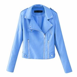 Doldoa Women Outerwear Jackets for Women - Womens Leather Jacket Women Faux Leather Contemporary Asymmetrical Moto Biker Hooded Jacket(Pink XL)