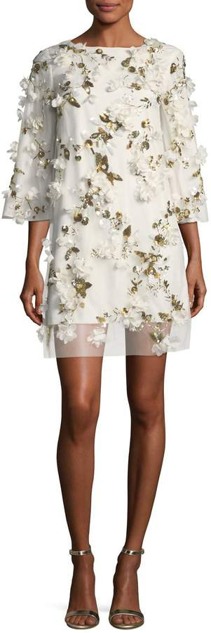 Marchesa Embellished 3D Floral Sequin Tunic Cocktail Dress