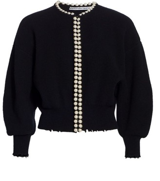 Alexander Wang Cropped Faux-Pearl Placket Cardigan
