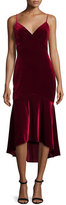 Theia Sleeveless Velour Midi Dress, Garnet