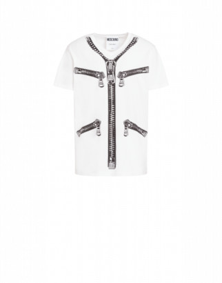 Moschino Jersey T-shirt With Zip Print Man White Size 44 It - (34 Us)
