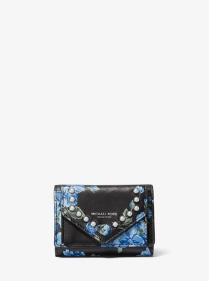 Studded Floral Calf Leather Small Pocket Wallet