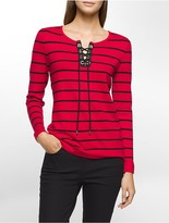 Calvin Klein Striped Lace-Up Sweater