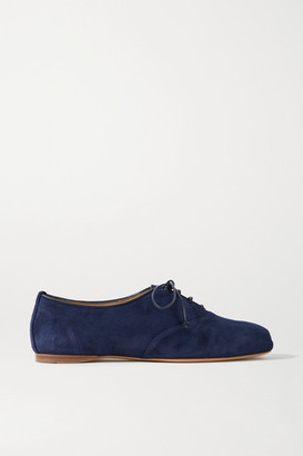 Gabriela Hearst Maya Suede Lace-up Ballet Flats - Navy