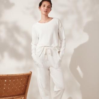The White Company Fleeceback Turn-Up Cuff Joggers, Ivory, Extra Small
