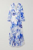 Caroline Constas Liv Wrap-effect Floral-print Silk-chiffon Maxi Dress - White