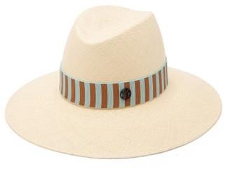 Maison Michel Kate Striped-trim Straw Hat - Blue White